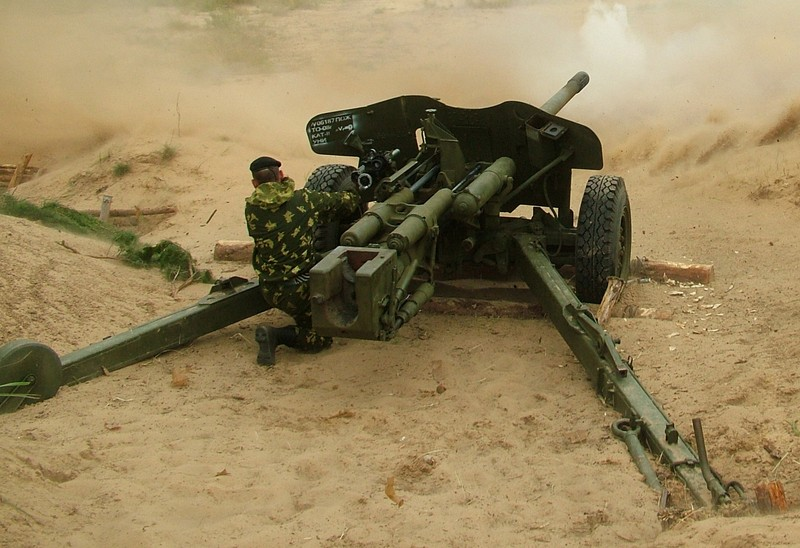 Photograph of an MT-12 firing